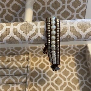 American Eagle pearl, metal, and rope bracelet